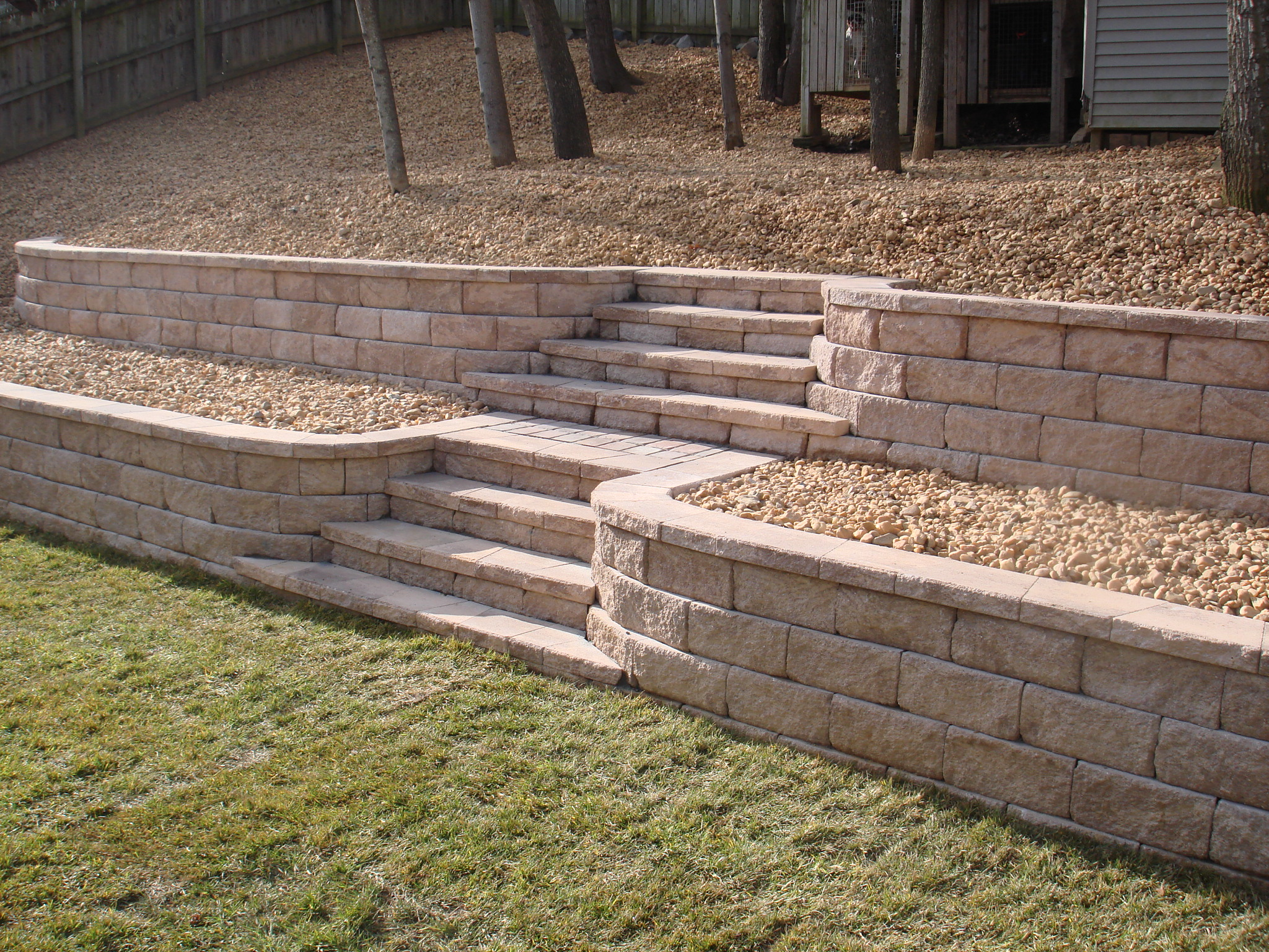 Retaining wall with stone steps fredericksburg virginia for Landscape blocks