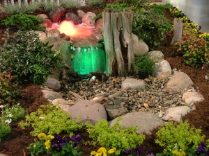 water feature with lights - fredericksubrg va landscaping