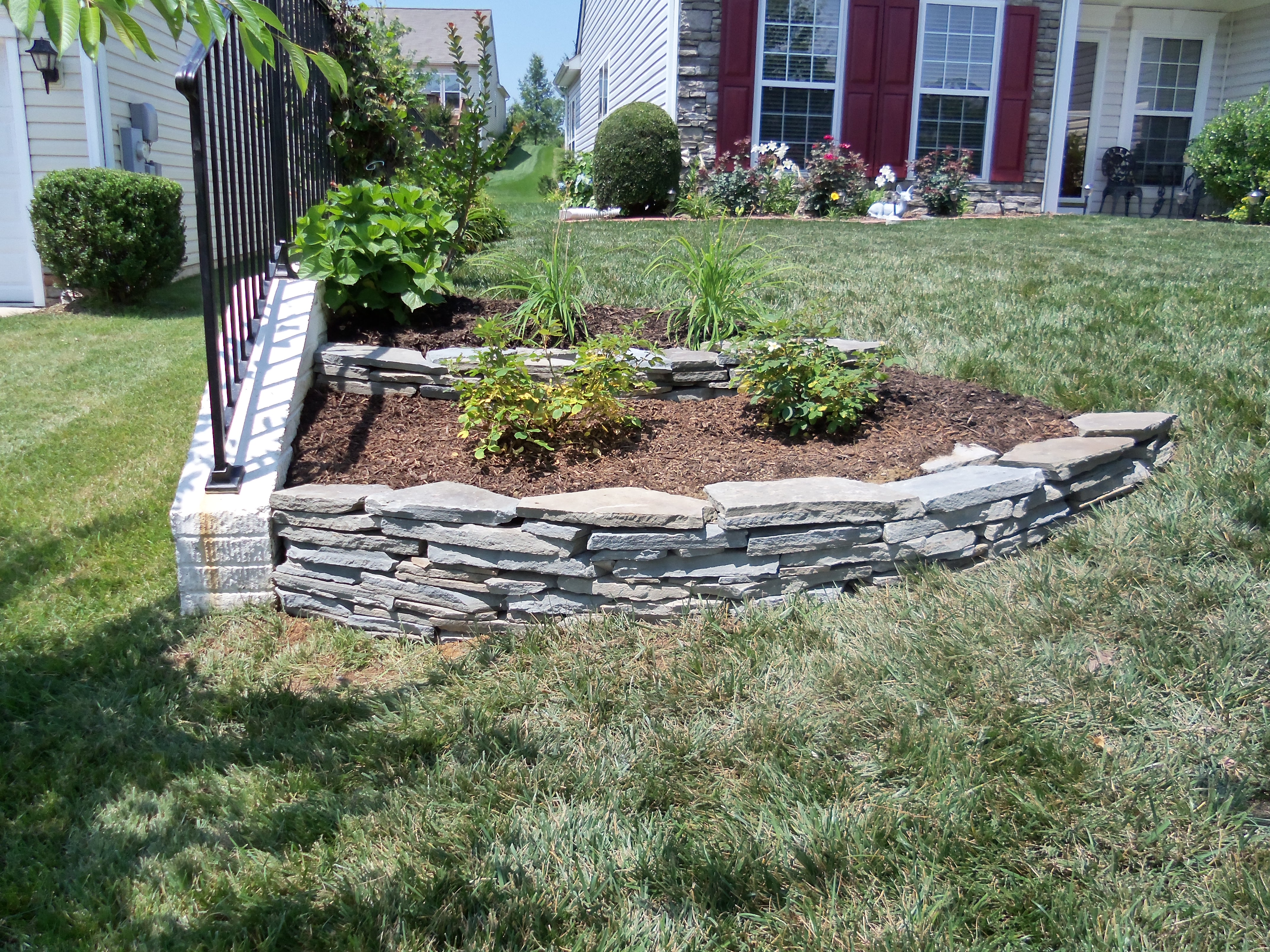 Dry Stack Rock Wall In Front Yard Stafford Nursery