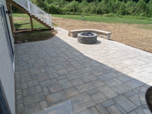 Landscaping Virginia Brick Paver Patio with Fire Pit