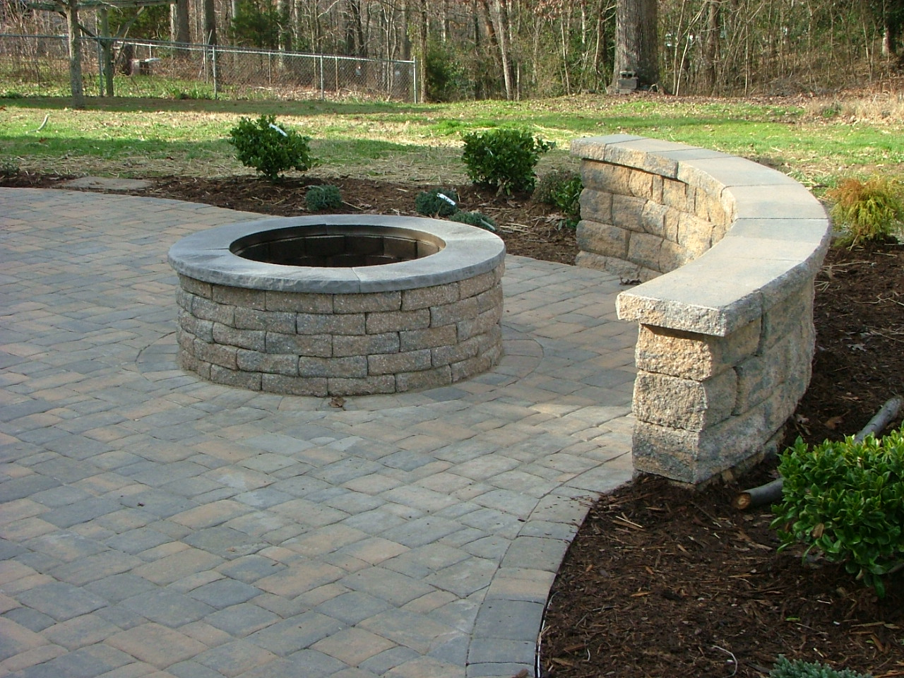 Paver Patio with Built-in Fireplace in Stafford, Virginia ... on Pavers Patio With Fire Pit id=66142