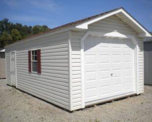 Peak Style Amish Built Garage Shed | Stafford Nursery